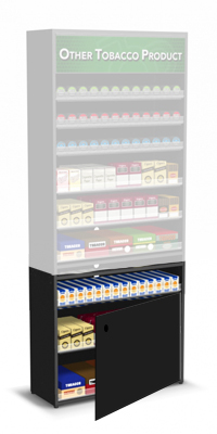 Cigarette Carton Storage Base for Tobacco Fixtures